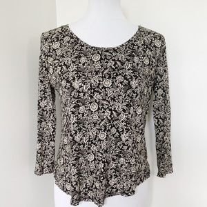 LUCKY BRAND Floral black/white Long Sleeve Blouse